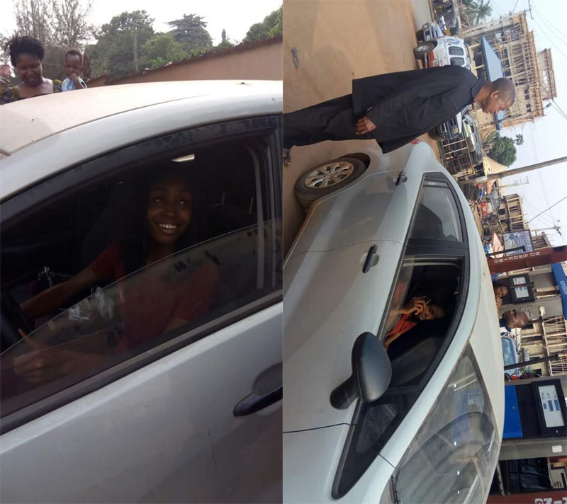 Chidinma Okeke drives her Miss Anambra 2015 official car