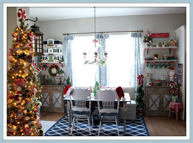 Christmas Farmhouse Cottage -Breakfast -Nook-Hearth & Hand Doll -House- Vintage-Christmas-From My Front Porch To Yours
