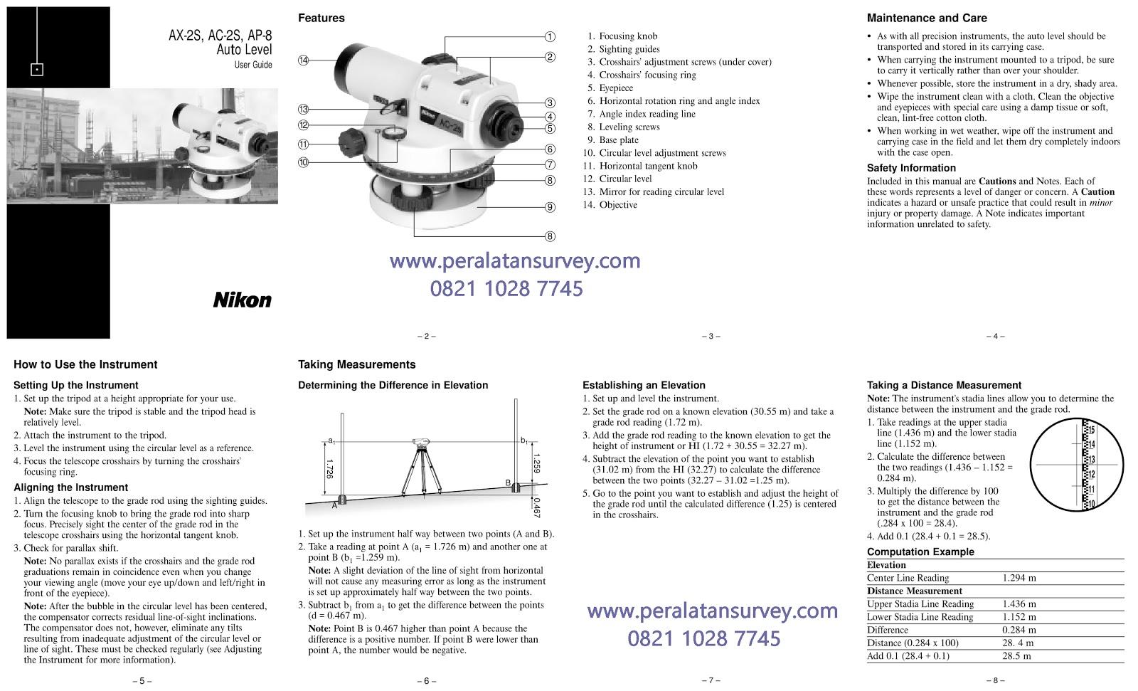 Brosur Auto Level / Waterpass Nikon AP-8  AC-2S  AX-2S Series