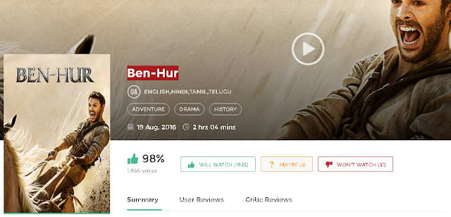 Ben Hur (2016) Hindi Dubbed Movie 700mb 300MB Download