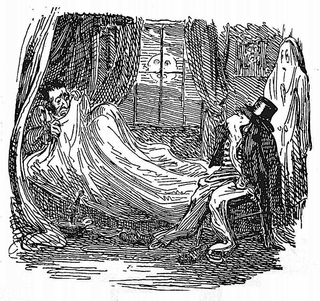 a George Cruikshank cartoon, a man awakes to the human shape of his clothes on a chair
