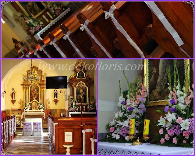 Pastelowa różowo fioletowa dekoracja kościoła na ślub opolskie