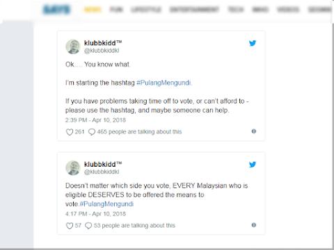 Hashtag #PulangMengundi Harapan Rakyat Malaysia Kesukaran Mengundi PRU14?