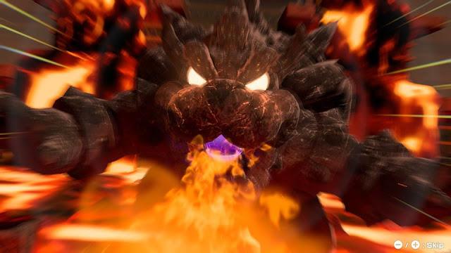 Mario Tennis Aces Bowser Statue boss cutscene fire breath