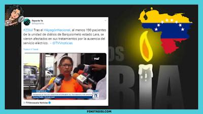 (Imagen) al menos 190 pacientes de la unidad de diálisis de la ciudad de Barquisimeto sufrieron los embates de la falta de servicio eléctrico