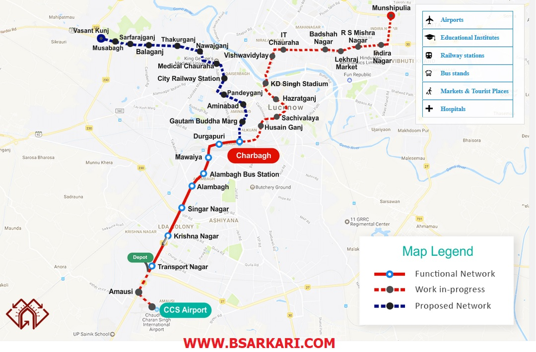 Lucknow Metro Map Download Timings Fares