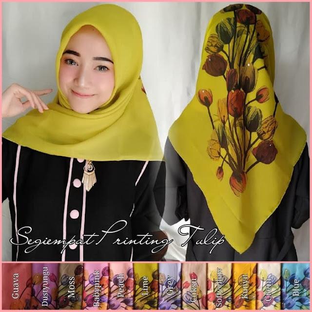 Jilbab Segi Empat Printing Premium Bunga Tulip