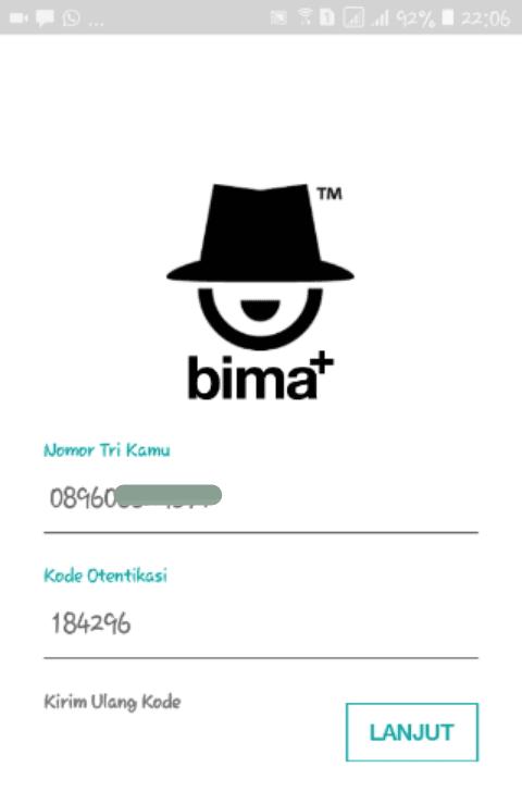 kode otentikasi untuk login bima+