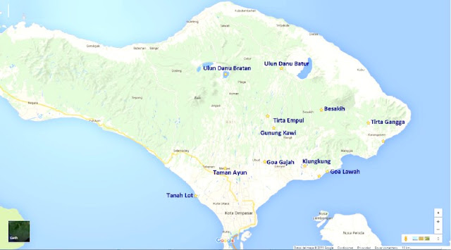 Mapa Templos Bali
