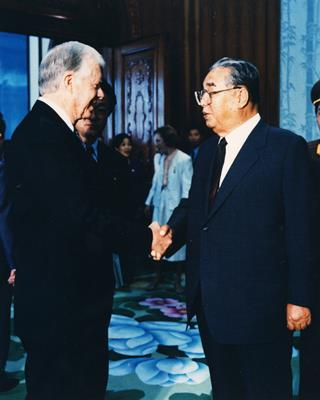 kim il sung with jimmy carter, june 16, 1994
