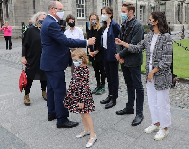 Princess Gabriella wore an evita corduroy dress by Jacadi. President Michael D Higgins and Sabina. Princess Charlene