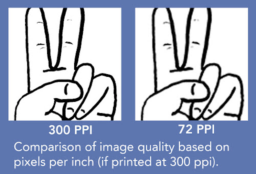 "Two side by side copies of an illustrated ""peace"" sign. The copy on the left (300 PPI) is well defined compared to the blurry copy (72 PPI) on the right."