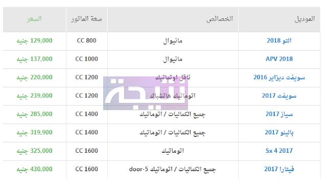 أسعار سيارات سوزوكى 2018 في مصر
