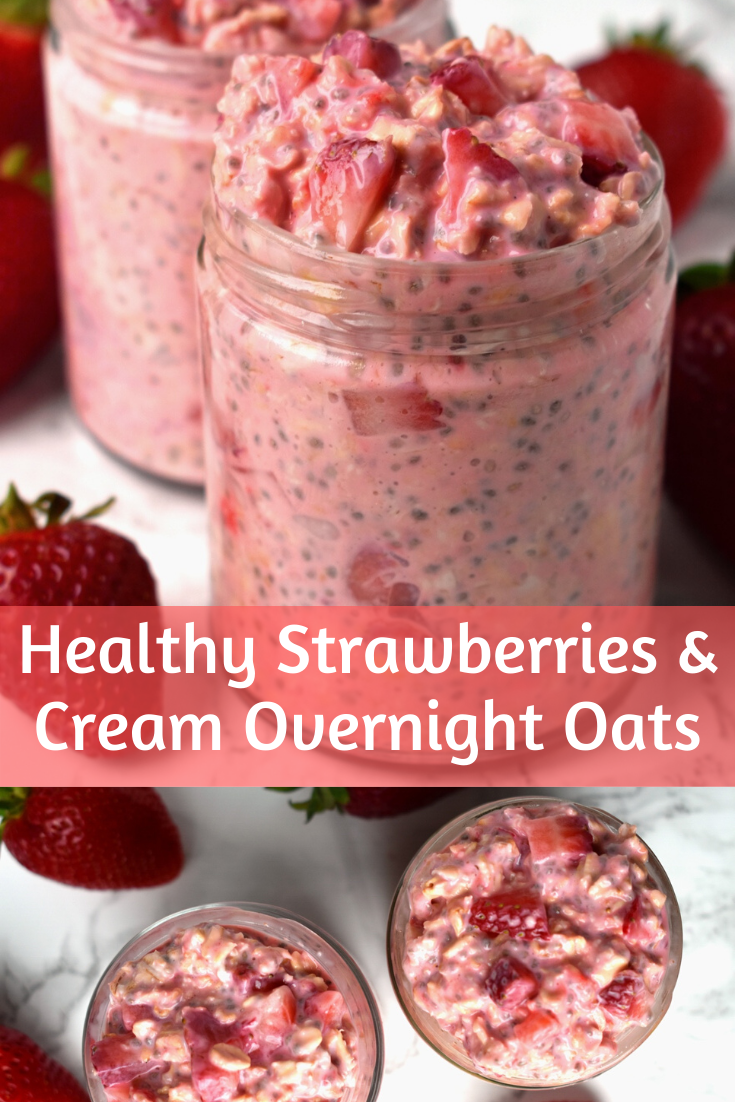 Healthy Strawberries and Cream Overnight Oats