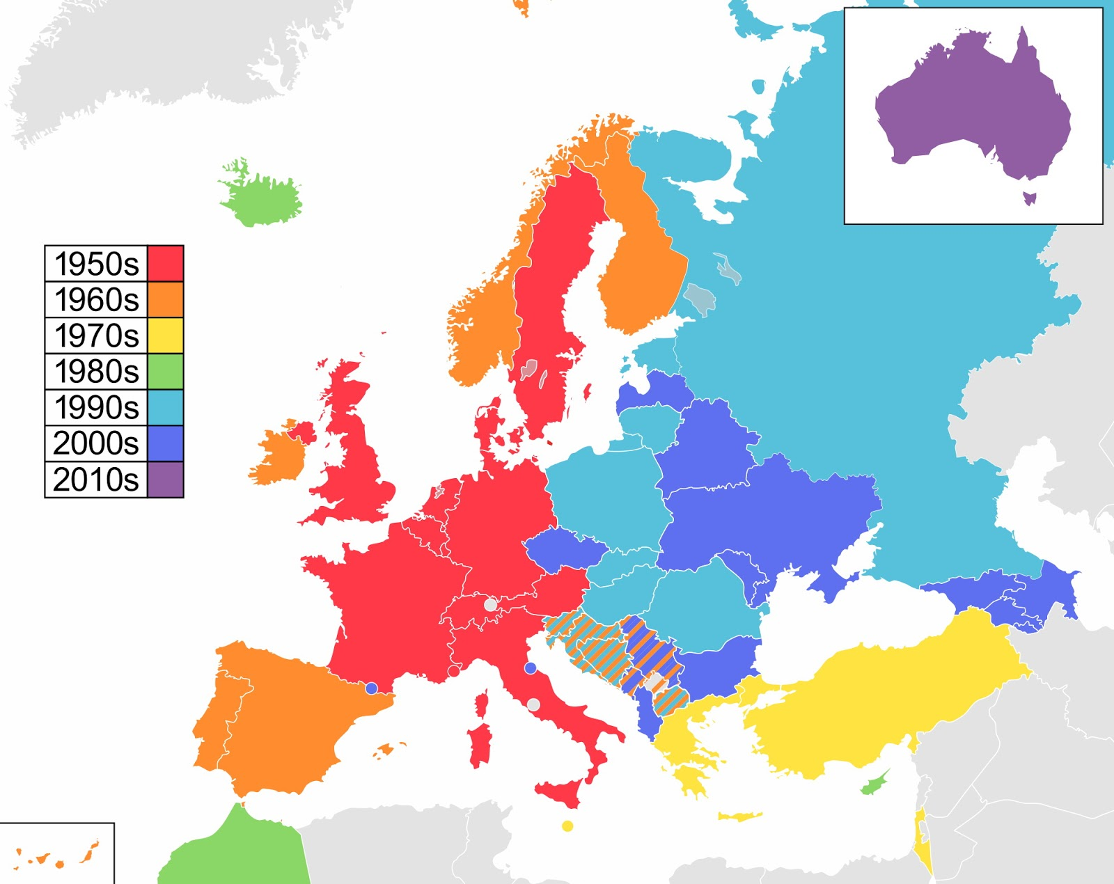 Participants in the Eurovision Song Contest, coloured by decade of debut