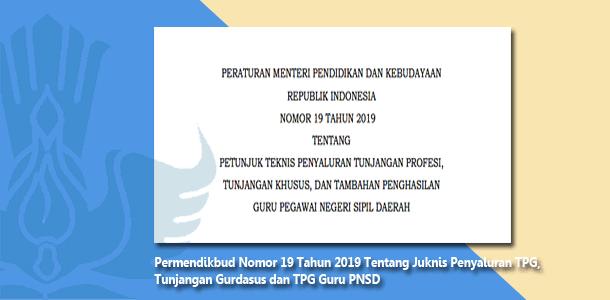 Permendikbud Nomor 19 Tahun 2019 Tentang Petunjuk Teknis Penyaluran Tunjangan Profesi, Tunjangan Khusus, dan Tambahan Penghasilan Guru Pegawai Negeri Sipil Daerah
