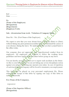 warning letter for absenteeism without intimation notice