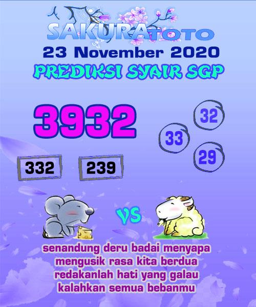 Syair Sakuratoto SGP Senin 23 November 2020