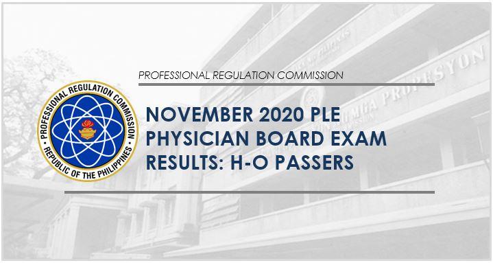 H-O Passers: November 2020 Physician, Medicine board exam results