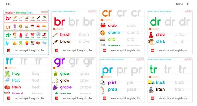 Mama Love Print 自製工作紙 - Phonics Resources 英文拼音練習 R Blends (br ,cr ,dr ,fr ,gr ,pr ,tr ) Free Download No Preparation Printable Worksheet