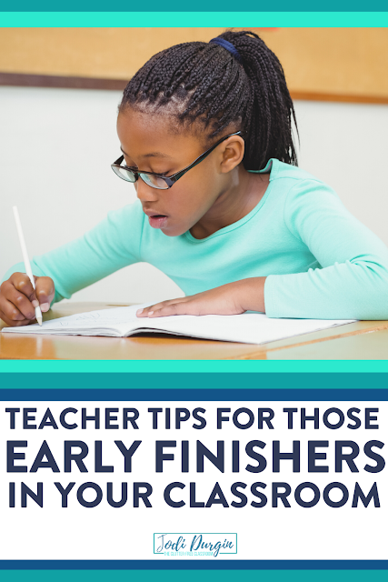 Early finisher activities are a classroom management must have in every first, second, third, fourth, and fifth grade classroom. This Clutter-Free Classroom blog post has tons of tips and ideas for fast finisher tasks that apply to any content area: Math, science, social studies, writing, and reading. #earlyfinishers #fastfinishers #elementaryclassroom #teachingtips