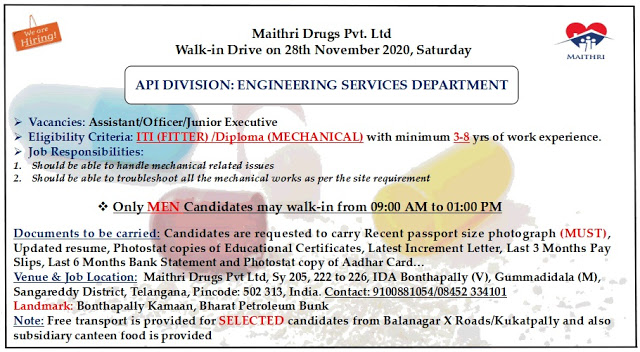 Maithri Labs | Walk-In Drive for Engineering Services (API) on 28 Nov 2020