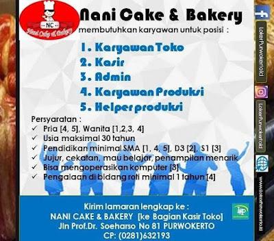 Lowongan Kerja Nani Cake & Bakery Purwokerto Februari 2020