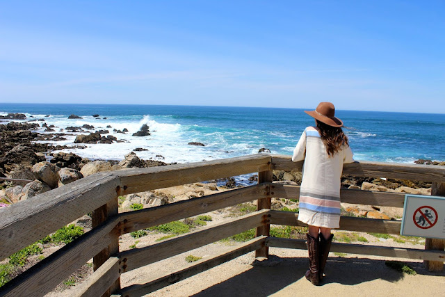 17 mile drive, california fashion, texas travel blogger, old gringo mayra boots, suno poncho dress, california coast, pacific northwest