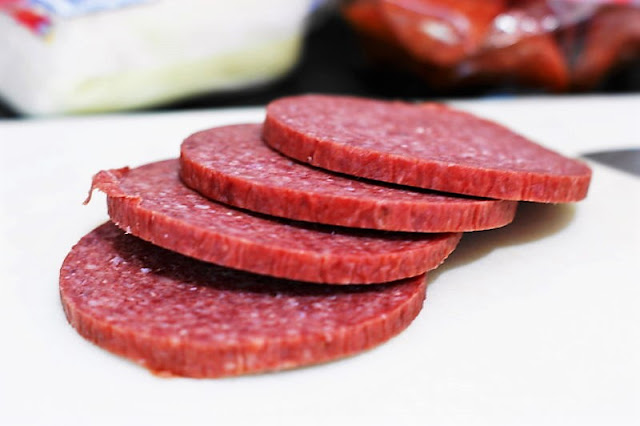 Thick Salami Slices to Make Antipasto Pasta Salad Image