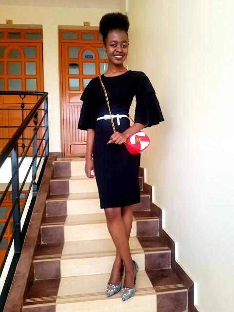 How To Wear A Little Black Ruffle-Sleeve Dress