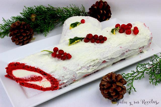 Tronco de Navidad red velvet. Julia y sus recetas