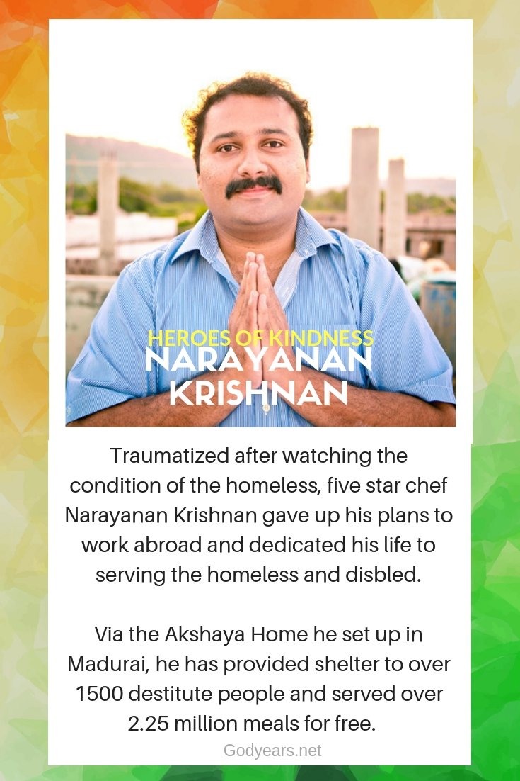 Till date, the Akshaya Home has been a home to around 1500 old people and disabled and Narayanan Krishnan has successfully reunited at least 400 of them with their family members.