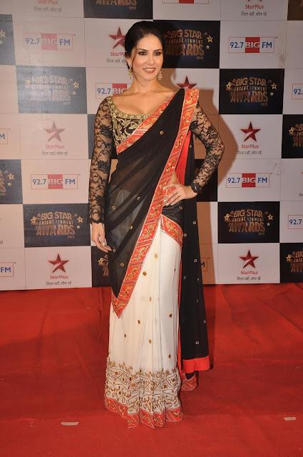 Sunny Leone Stills at Big Star Awards In Black Saree Navel Queens