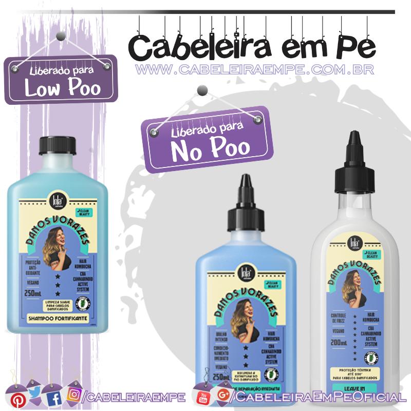 Shampoo (Low Poo), Booster de Reparação Imediata e Leave in Finalizador (Liberados para No Poo) Danos Vorazes - Lola Cosmetics