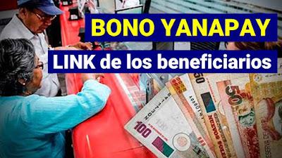 LINK de los beneficiarios del Bono YANAPAY