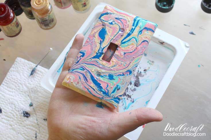 Marbled Light Switch Covers with Easy Marble DIY