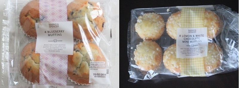 packaging Marks and Spencer blueberry muffins mini muffins lemon white chocolate