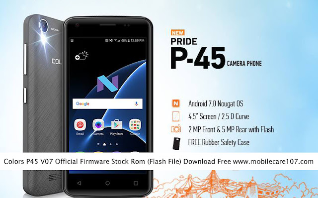 Colors P45 V07 Official Firmware Stock Rom/Flash File Download Free