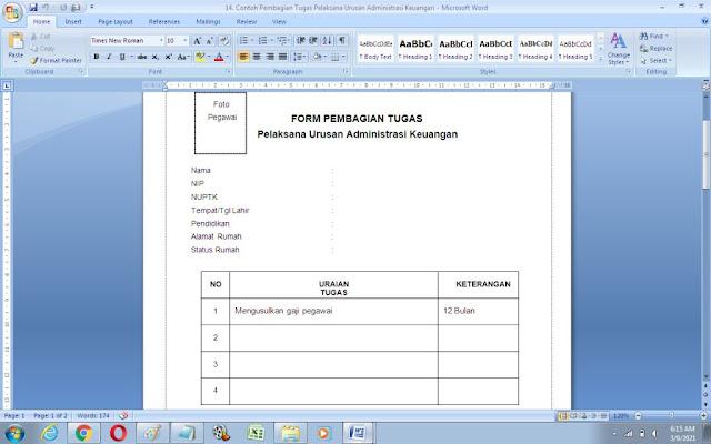 Contoh Format Pembagian Tugas Pelaksana Urusan Administrasi Keuangan
