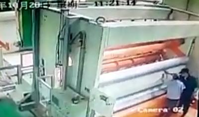Trabajador Succionado por Maquina