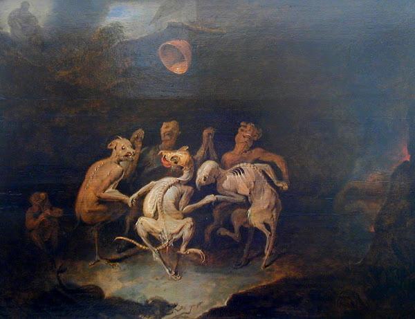 La ronde des Farfadets by David Ryckaert III, Macabre Paintings, Horror Paintings, Freak Art, Freak Paintings, Horror Picture, Terror Pictures