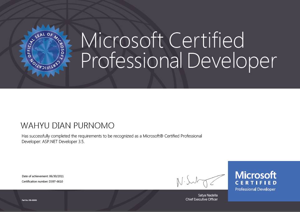 Microsoft Certified Professional Developer (MCPD), ASP .NET Developer 3.5