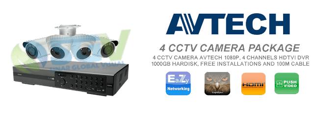 Paket Pemasangan 4 Camera CCTV AVTECH