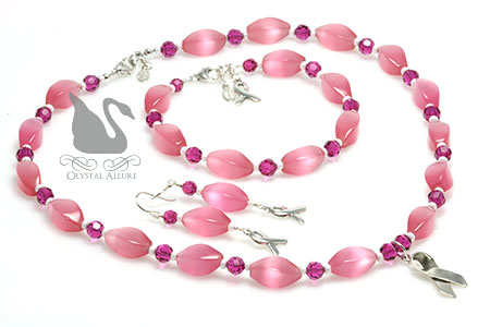 Pop of Pink Breast Cancer Awareness Ribbon 3pc Jewelry Set