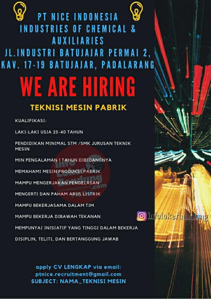 Lowongan Kerja PT. Nice Indonesia Bandung April 2021