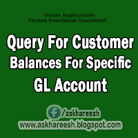 Query For Customer Balances for specific GL Account, askHareesh.blogspot.com