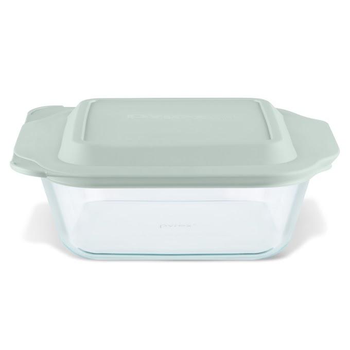 "WALMART - Pyrex Deep Dish 8""x 8"" Glass Bake Set with Sage Lid"