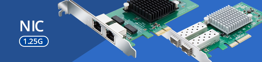 Macroreer 1.25G Network Interface Cards (NICs) also use Intel series chips, including 82574L, I210AT, 82576, I350, etc. These NICs come in1~4 ports , supporting RJ45 or SFP slot. These cards are supporting Windows, Linux, Red Hat, SUSE, Ubuntu, VMware ESXi and other operating systems.