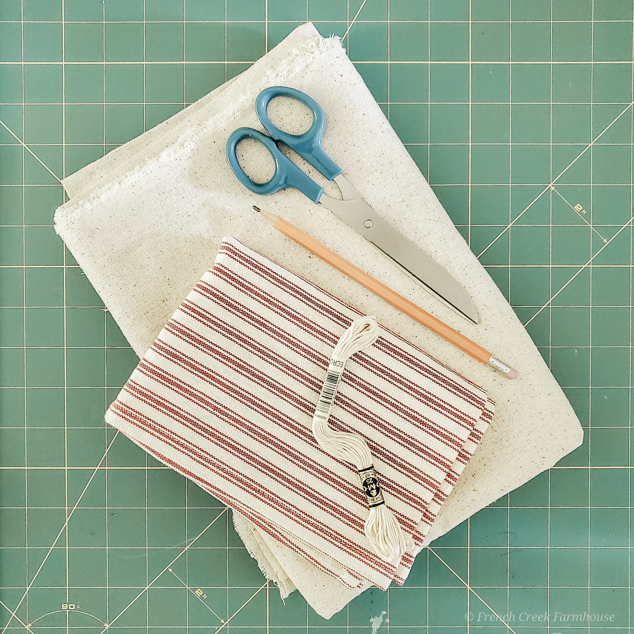 Red ticking stripe fabric is perfect for patriotic farmhouse crafts