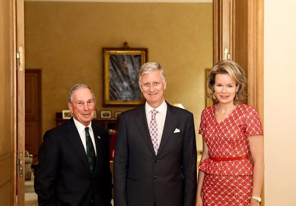 Queen Mathilde and King Philippe met with Michael Bloomberg at Royal Palace in Brussels